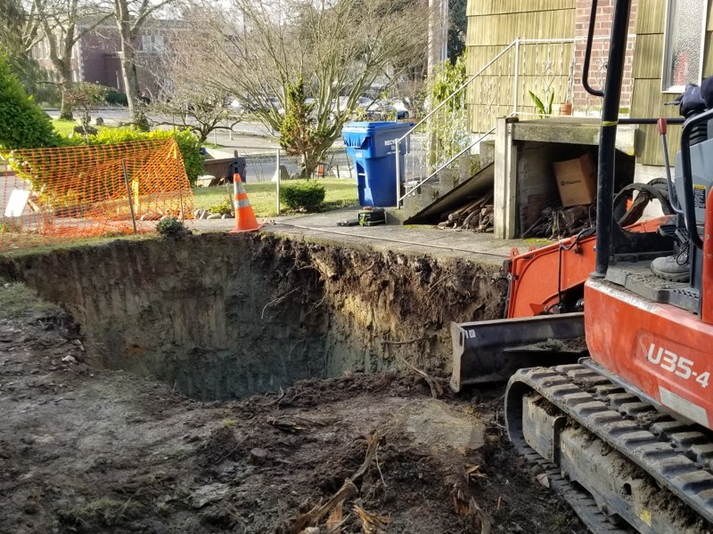 Excavation for tank replacement